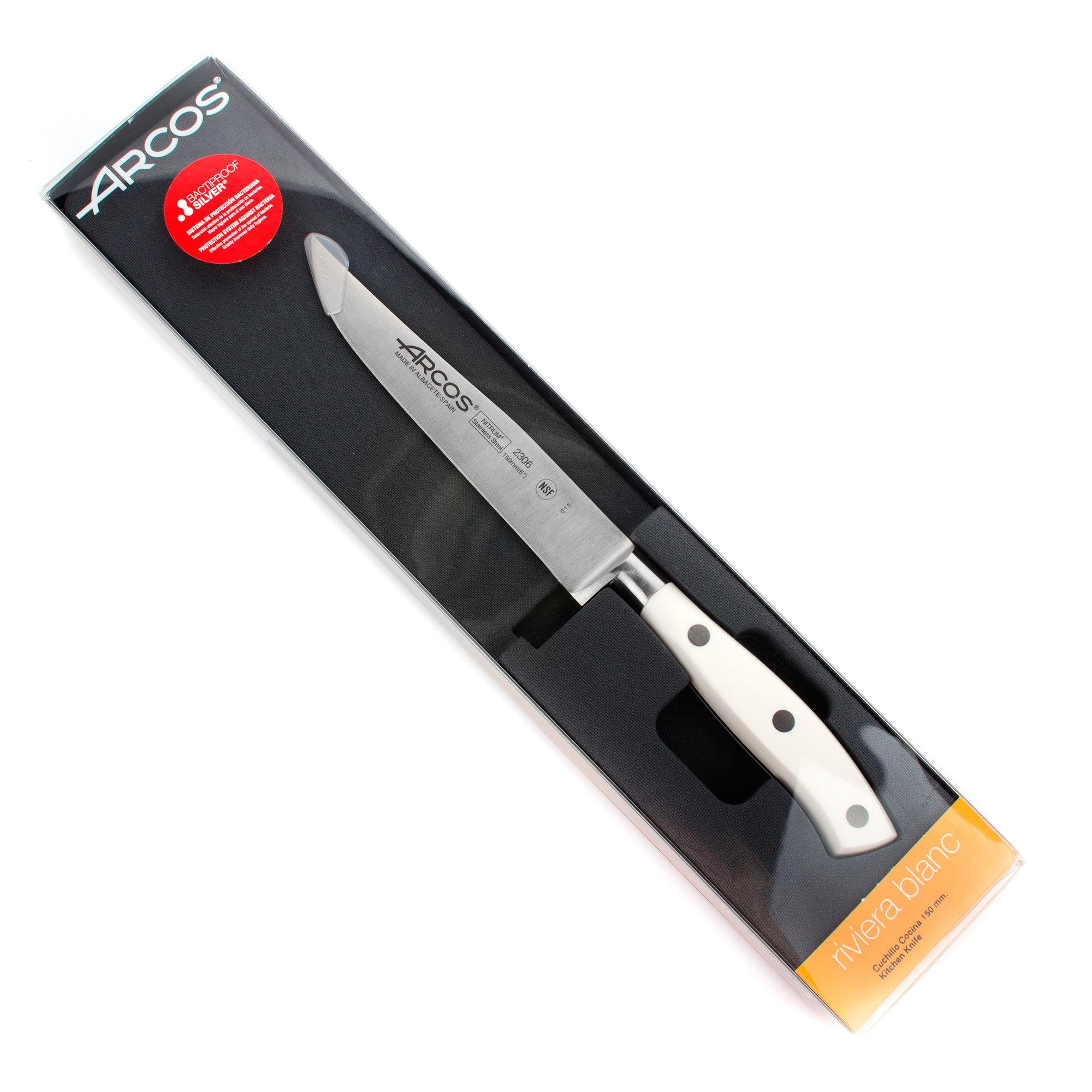 Нож кухонный стальной универсальный 15 см ARCOS Riviera Blanca арт. 230624W