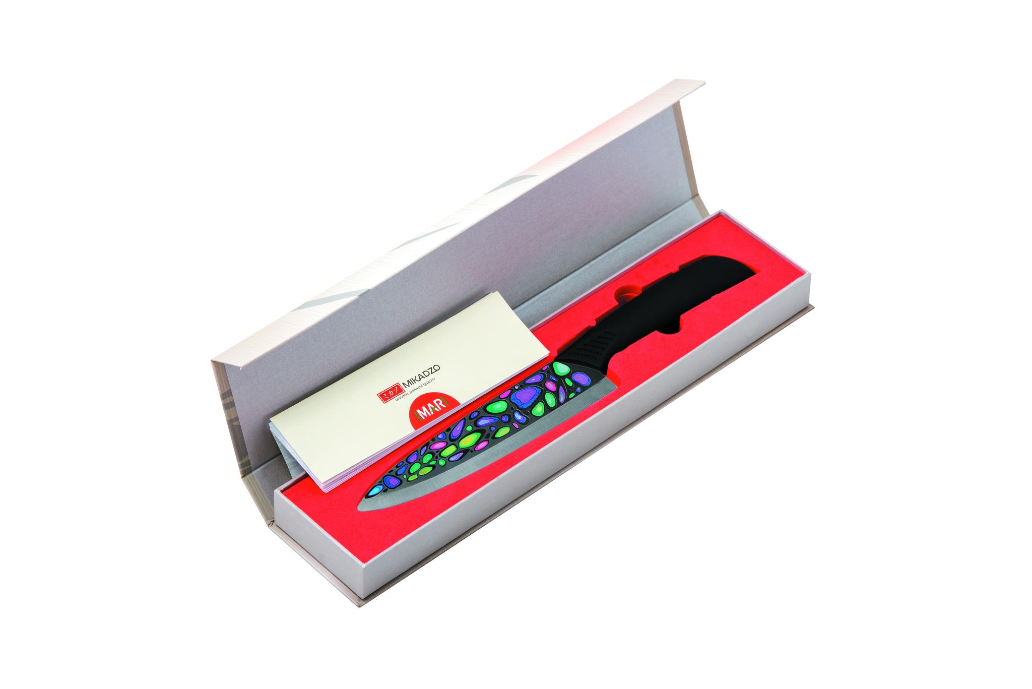 Набор из 3 кухонный керамических ножей Mikadzo Imari Black и браш-подставки