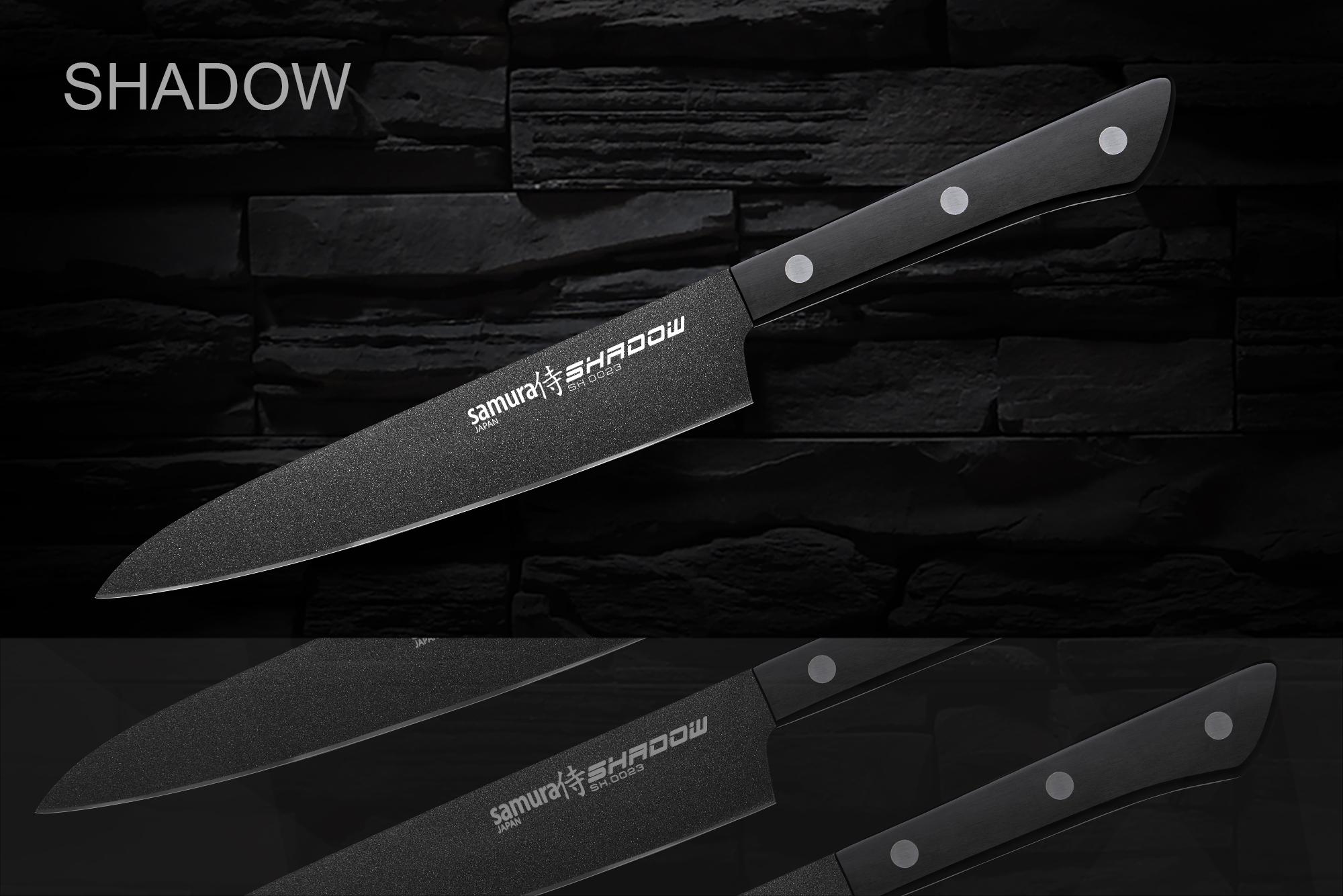 Купить Нож кухонный Samura SHADOW универсальный с покрытием BLACK FUSO 150 мм SH-0023/16