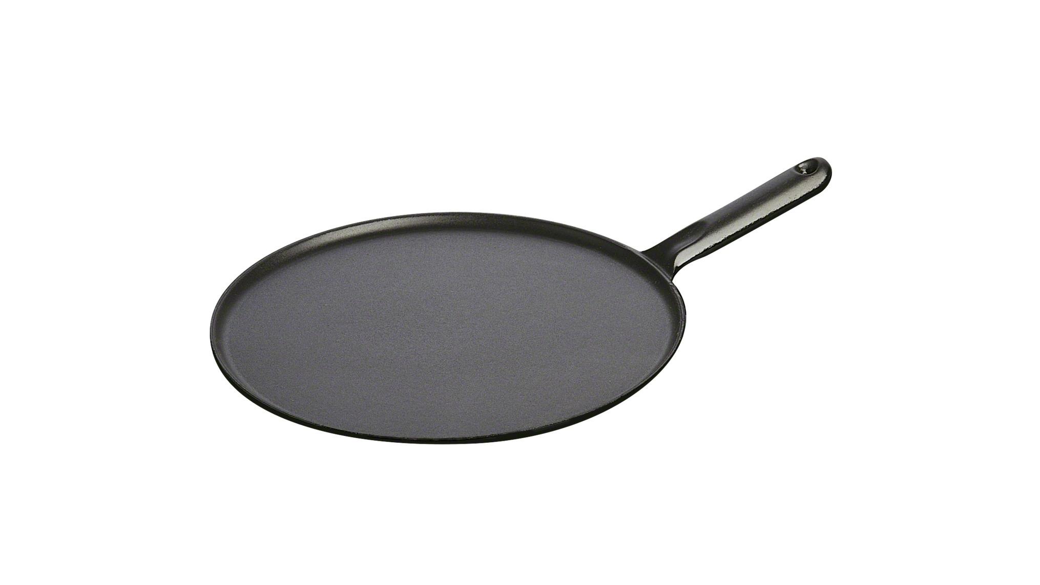 Сковорода для блинов Staub черная, с чугунной ручкой, 30 см ,с приспособлением размазывания и лопаткой 1213023