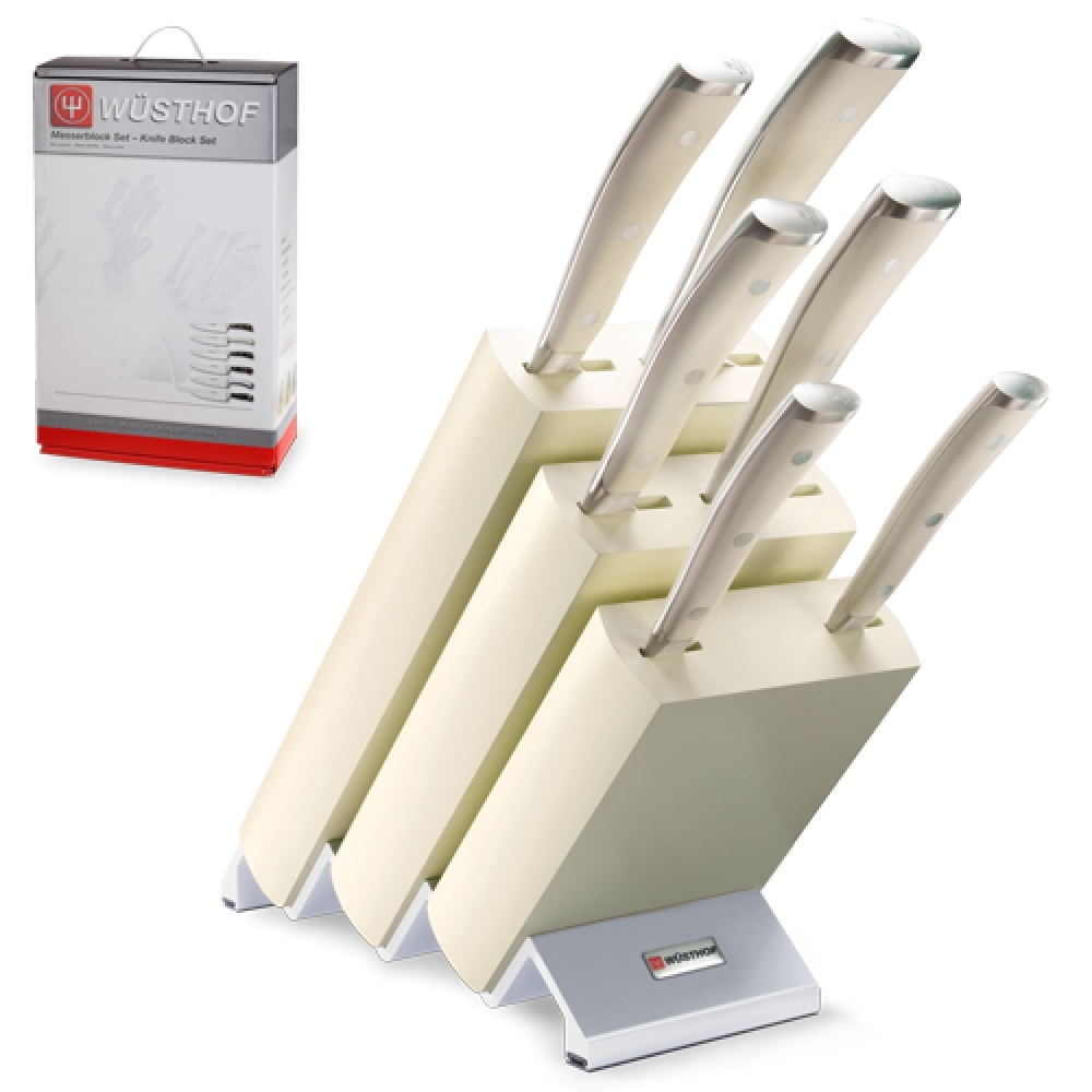 Купить Набор из 6 кухонных ножей и подставки WUSTHOF Ikon Cream White арт. 9877 WUS