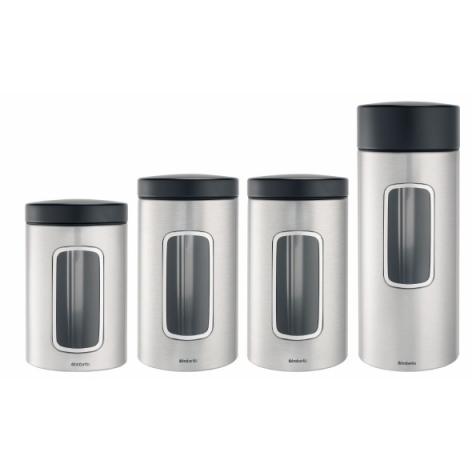 Купить Набор контейнеров с окном 4 пр (1х1, 4л + 2х1, 7л + 1х2, 2л) матовая сталь с защитой от отпечатков пальцев Brabantia 386725