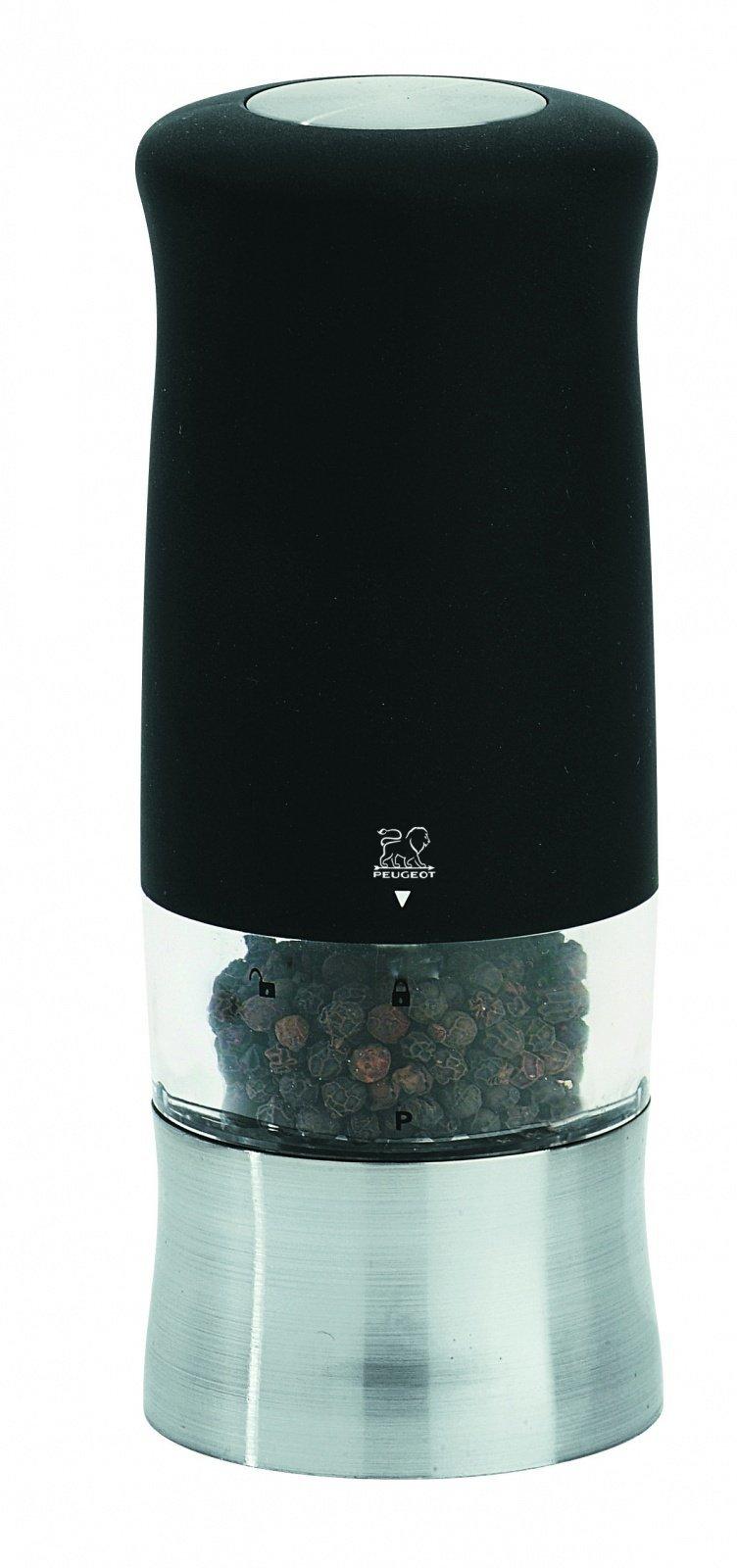 Мельница Peugeot Zphir для перца, 14 см, софт тач чёрный, на батарейках 22563