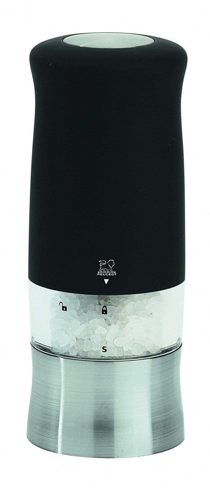 Мельница Peugeot Zphir для соли,14 см, софт тач чёрный, на батарейках 22570