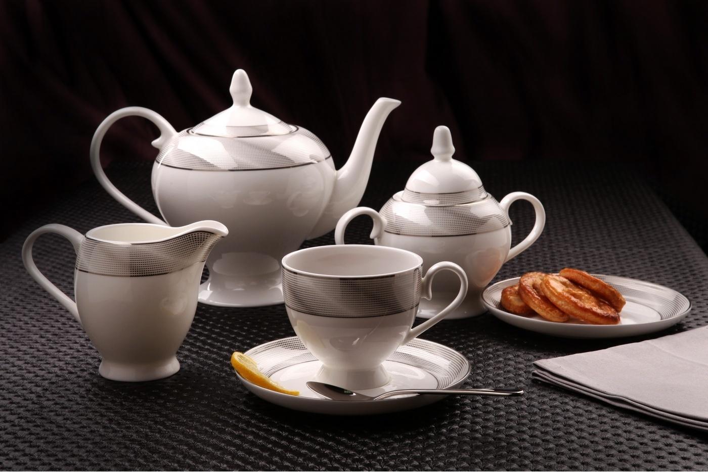"""Чайный сервиз Royal Aurel """"Серебро"""" арт.115, 15 предметов"""