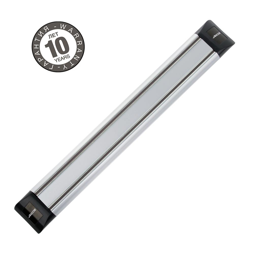 Магнитный держатель 30 см ARCOS Varios арт. 6925Магнитные держатели для ножей<br>Осовободить рабочую поверхность на небольшой кухнеисохранить ножи острыми дольше.<br>Магнитный держатель для металлических кухонных ножей, ножниц крепится на стену или дверцу шкафа. В отличие от подставки для ножей - не занимает место на рабочей поверхности. Можно повесить в любомместе, удобном для правшей и левшей. <br>Кухонные ножи при правильном хранении, когда их лезвия не соприкасаются с друг другом или иными металлическими предметами, как это случается при хранении в ящике, дольше держат заточку.<br>Официальный продавец ARCOS<br>