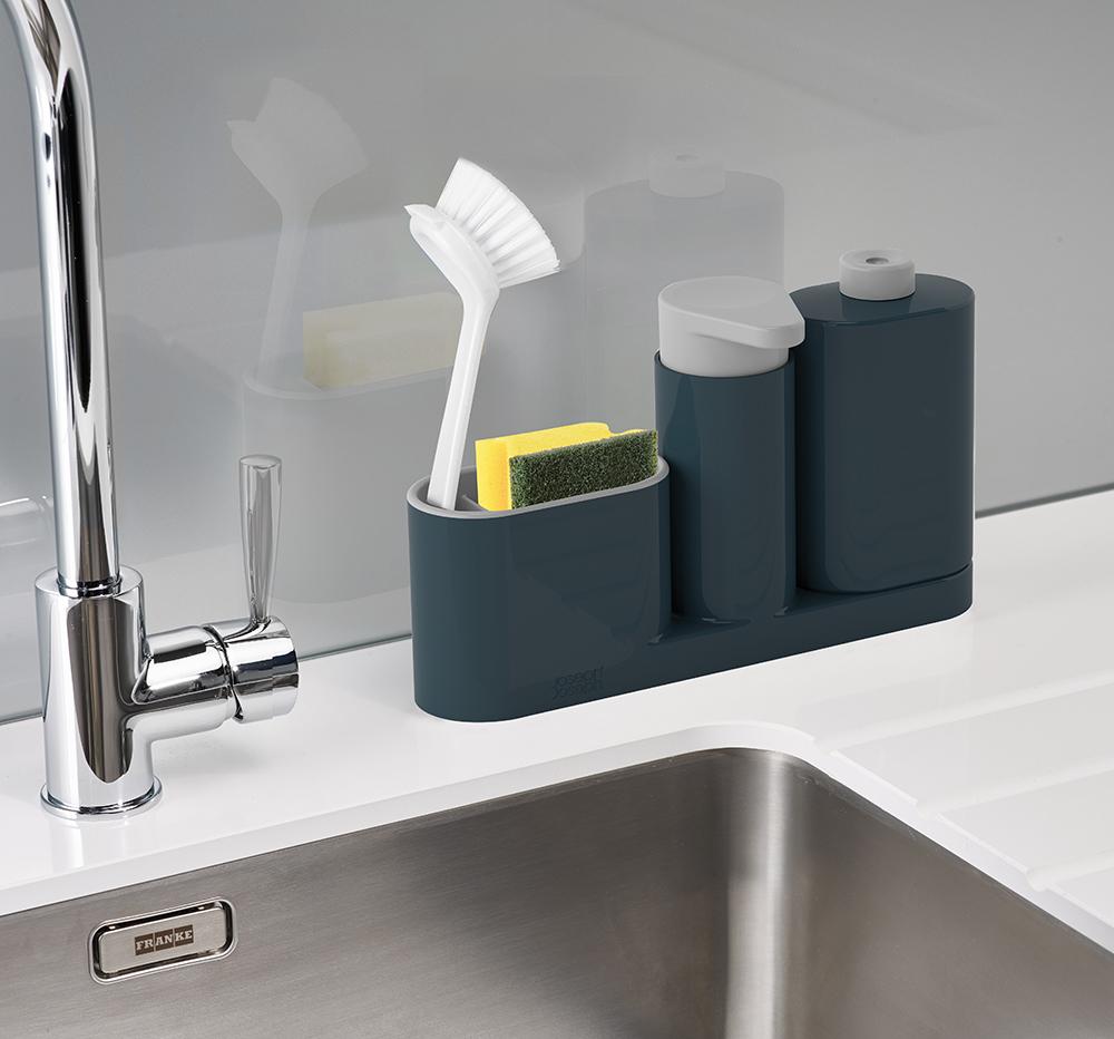 Органайзер для раковины с дозатором мыла и бутылочкой Joseph SinkBase Plus серый 85091