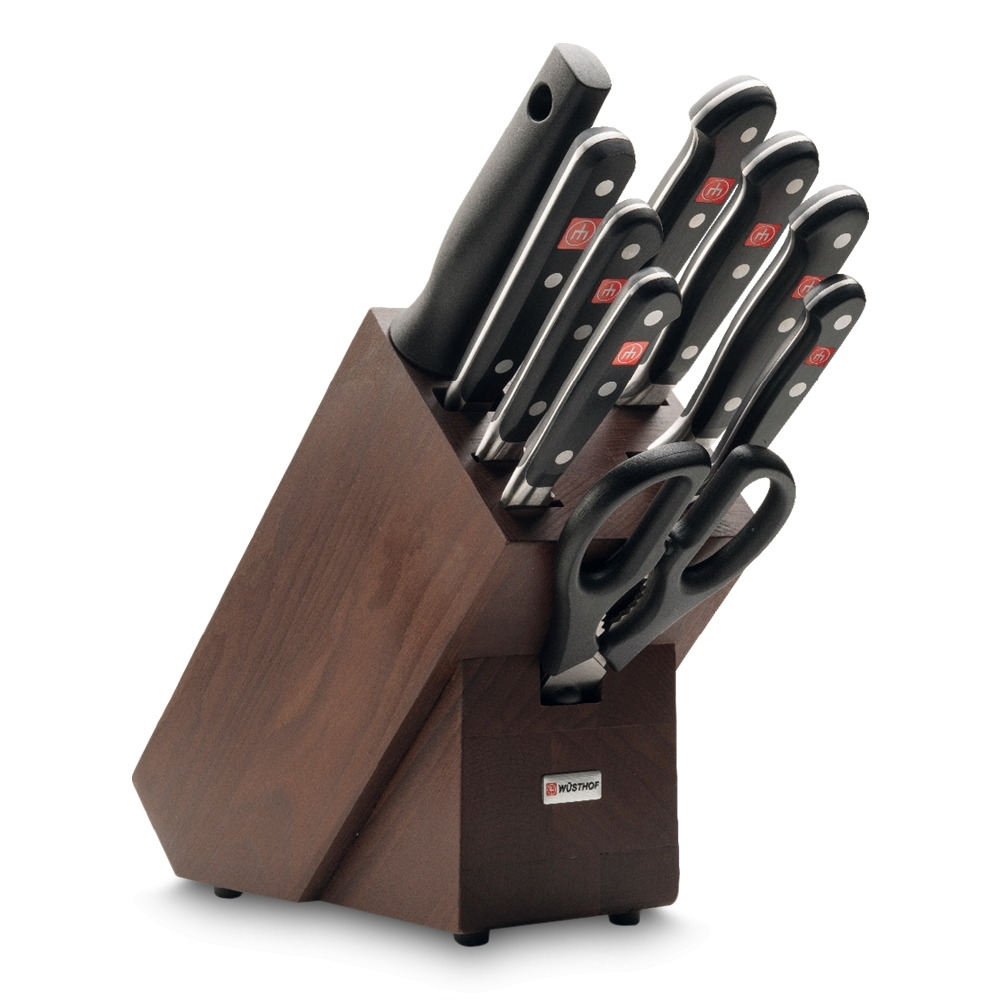 Набор из 6 кухонных ножей, вилки для мяса, ножниц, мусата и подставки WUSTHOF Classic (Золинген) арт. 9843