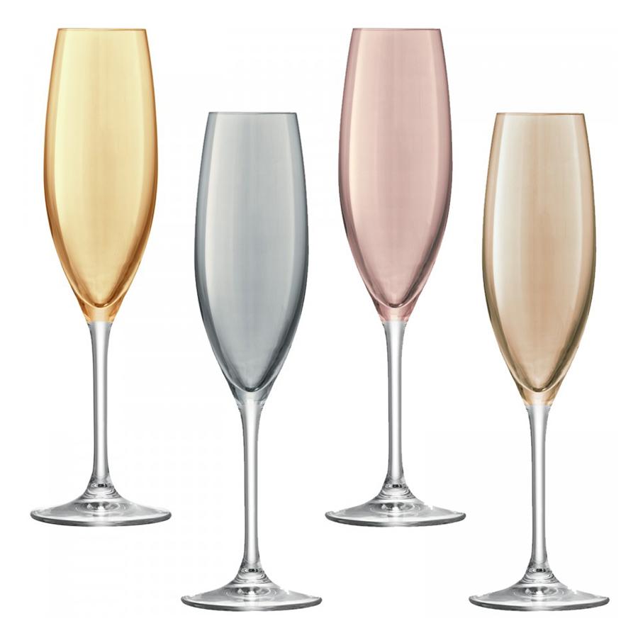 Бокал-флейта для шампанского Polka 4 шт. металлик LSA G978-09-960