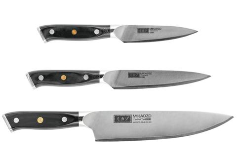 Набор из 3 кухонных стальных ножей Mikadzo Yamata (упакованы отдельно)