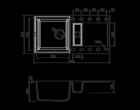 Кухонная мойка из искусственного гранита (Tetogranit) OMOIKIRI Sakaime 86-2-BL (4993117)
