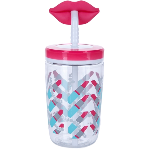 Детский стакан для воды с трубочкой Contigo Funny Straw (0.47 литра), розовый