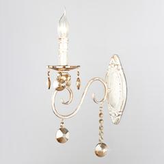 Классическое бра с хрусталем Eurosvet Ravenna 10104/1 белый с золотом/тонированный хрусталь Strotskis