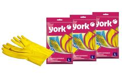 Комплект из 3 хозяйственных резиновых перчаток, размер (L) York
