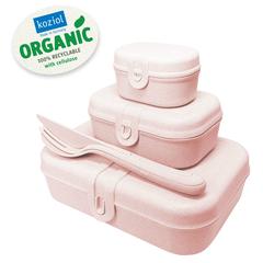 Набор из 3 ланч-боксов и столовых приборов PASCAL Organic розовый Koziol 3168669