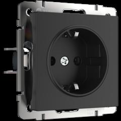 Розетка с заземлением и шторками  (черный матовый) WL08-SKGS-01-IP44 Werkel