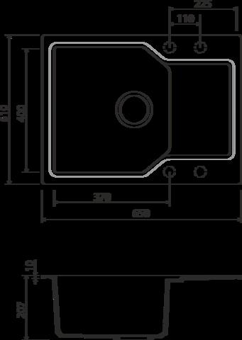 Кухонная мойка из искусственного гранита (Artgranit) OMOIKIRI Yonaka 65-BL (4993348)