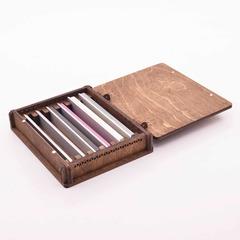 Деревянная шкатулка для хранения заточных брусков, 6 шт