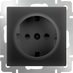 Розетка с заземлением, безвинтовой зажим (черный матовый) WL08-10-01 Werkel