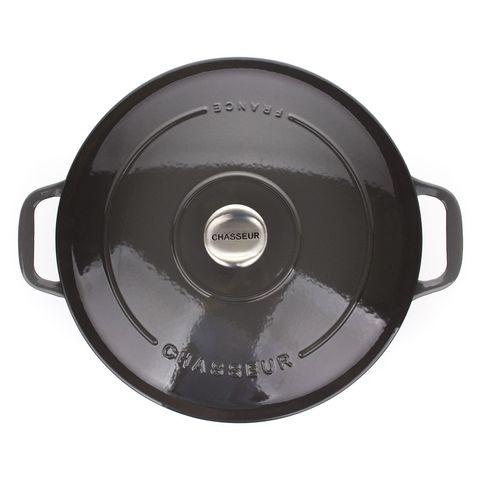 Кастрюля с крышкой чугунная 28см (6,3л), с эмалированным покрытием, CHASSEUR Caviar (цвет: cеребристо-черный) арт. 472889