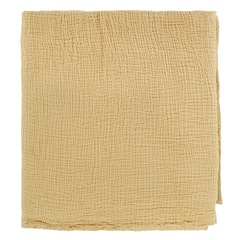 Покрывало из жатого хлопка горчичного цвета  из коллекции Essential, 180х240 см Tkano TK20-BS0001