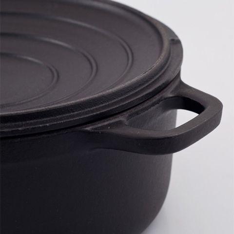 Кастрюля с крышкой чугунная 26см (5,2л), с эмалированным покрытием, CHASSEUR Black (цвет: чёрный) арт. 3726 (2612)
