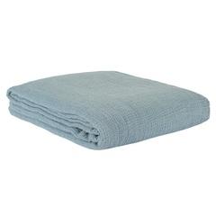 Покрывало из жатого хлопка джинсово-синего цвета  из коллекции Essential, 230х250 см Tkano TK20-BS0005