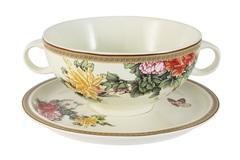 Суповая чашка на блюдце Японский сад IMARI 30808