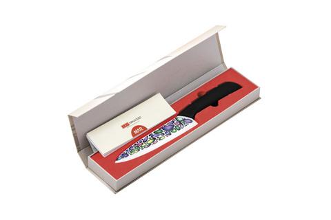 Набор из 3 кухонный керамических ножей Mikadzo Imari и браш-подставки