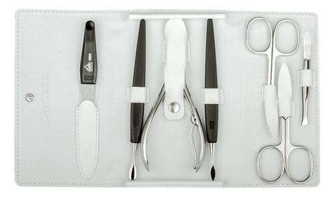 Маникюрный набор Erbe, 7 предметов, кожаный футляр, цвет белый
