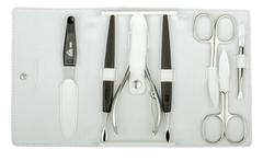 Маникюрный набор Erbe, 7 предметов, кожаный футляр, цвет белый 9196ER