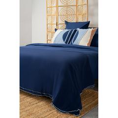 Покрывало легкое из хлопка темно-синего цвета с контрастной каймой из коллекции Essential, 180х250 см Tkano TK20-BS0015