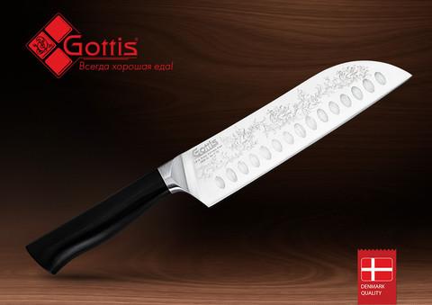 Нож кухонный стальной Сантоку Gottis (арт.172)