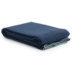 Покрывало легкое из хлопка темно-синего цвета с контрастной каймой из коллекции Essential, 230х250 см Tkano TK20-BS0016