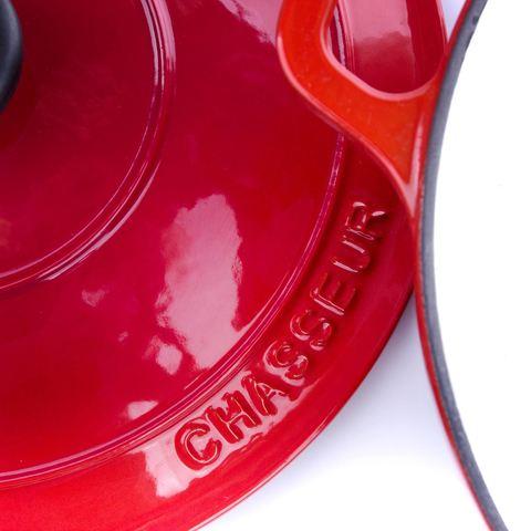 Кастрюля с крышкой чугунная 24см (3.8л), с эмалированным покрытием, CHASSEUR Rubin (цвет: алый) арт. 372408