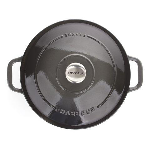 Кастрюля с крышкой чугунная 26см (5,2л), с эмалированным покрытием, CHASSEUR Caviar (цвет: cеребристо-черный) арт. 472689