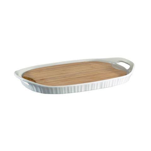 Форма прямоугольная 40х25 см с бамбуковой доской Corningware French White 1105942