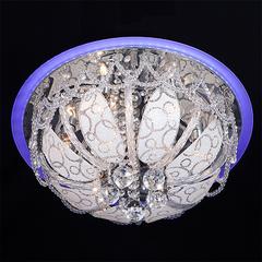 Люстра потолочная с хрусталем и пультом Eurosvet Disco 80100/8 хром/голубой