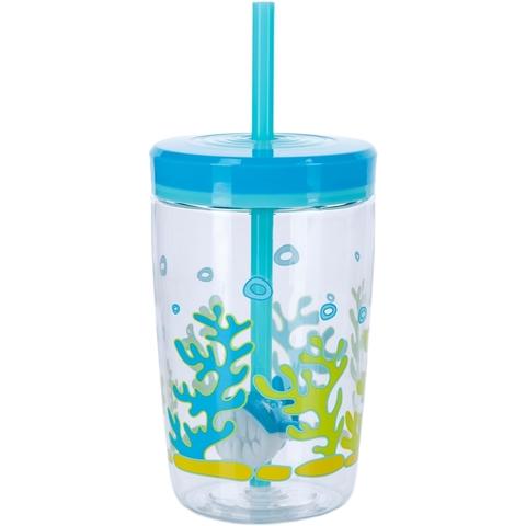 Детский стакан для воды с трубочкой Contigo Floating Straw Tumbler (0.47 литра), голубой
