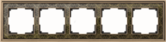 Рамка на 5 постов (золото/черный) WL77-Frame-05 Werkel