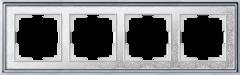 Рамка на 4 поста (хром/белый) WL77-Frame-04 Werkel