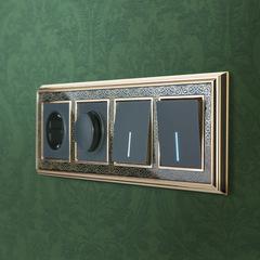 Рамка на 4 поста (золото/черный) WL77-Frame-04 Werkel
