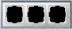 Рамка на 3 поста (хром/белый) WL77-Frame-03 Werkel