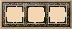 Рамка на 3 поста (золото/черный) WL77-Frame-03 Werkel