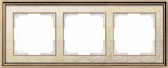 Рамка на 3 поста (золото/белый) WL77-Frame-03 Werkel