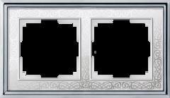 Рамка на 2 поста (хром/белый) WL77-Frame-02 Werkel