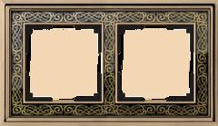 Рамка на 2 поста (золото/черный) WL77-Frame-02 Werkel