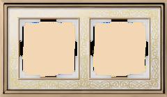 Рамка на 2 поста (золото/белый) WL77-Frame-02 Werkel