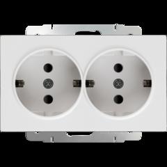 Розетка двойная с заземлением (белая) WL01-SKG-02-IP20 Werkel
