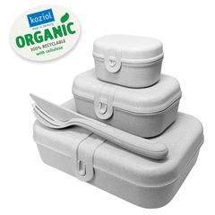 Набор из 3 ланч-боксов и столовых приборов PASCAL Organic серый Koziol 3168670